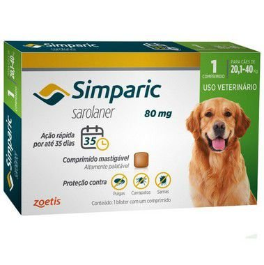 Antipulgas Simparic 80 mg para cães 20,1 a 40 kg C/1 Comprimido Avulso - Zoetis