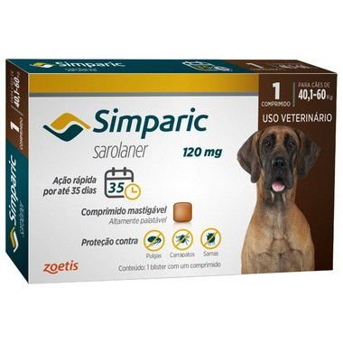 Antipulgas Simparic 120 mg para cães 40,1 a 60 kg C/1 Comprimido Avulso - Zoetis
