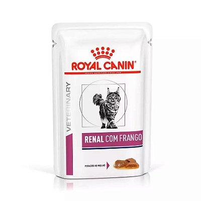 Ração Úmida Royal Canin Sachê Feline Veterinary Renal Sabor Frango para Gatos com Doença nos Rins - 85 g