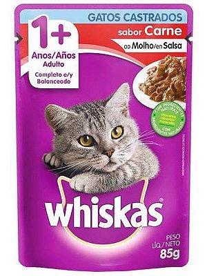 Ração Úmida Whiskas Sachê Sabor Carne ao Molho para Gatos Castrados - 85g