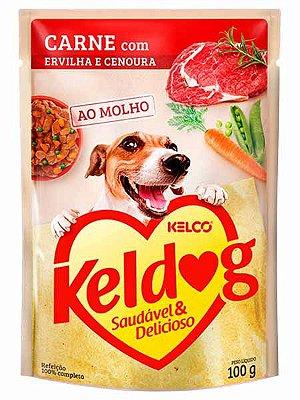 Ração Úmida Keldog Sachê Sabor Carne com Ervilha e Cenoura para Cães Adultos - 100g