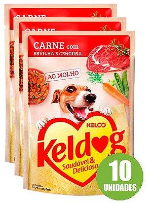 Ração Úmida Keldog Sachê Sabor Carne com Ervilha e Cenoura para Cães Adultos 100g - 10 unidades