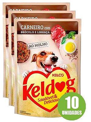 Ração Úmida Keldog Sachê Sabor Carneiro com Brócolis e Linhaça para Cães Adultos 100g - 10 unidades
