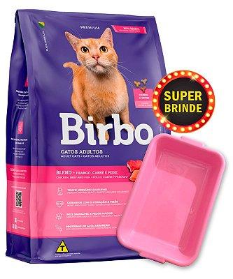 Ração Birbo Premium Sabor Frango, Carne e Peixe para Gatos Adultos - 10,1Kg + Brinde