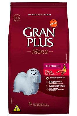 Ração GranPlus Menu Super Premium Sabor Carne e Arroz para Cães Adultos Minis - 15kg