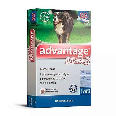 Antipulgas e Carrapatos Bayer Advantage MAX3 para Cães acima de 25Kg - 1 Bisnaga de 4,0 mL