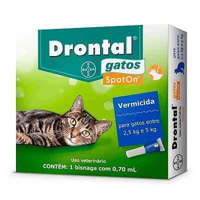 Vermífugo Drontal SpotOn para Gatos de 2,5Kg a 5Kg - 1 Bisnaga de 0,70 mL