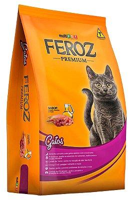 Ração Feroz Premium Especial Sabor Carne, Frango e Peixe para Gatos Castrados - 10,1Kg