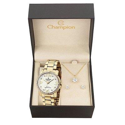 Relógio Champion Feminino CH24768W + Conjunto de Brincos e Colar