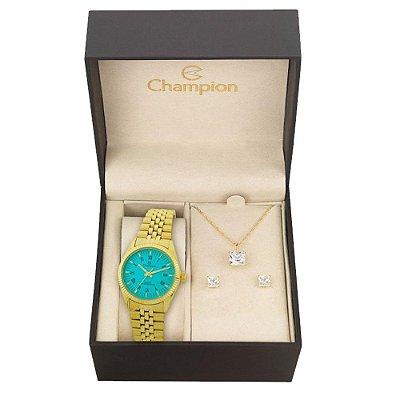 Relógio Champion Feminino CH24777Y + Conjunto de Brincos e Colar