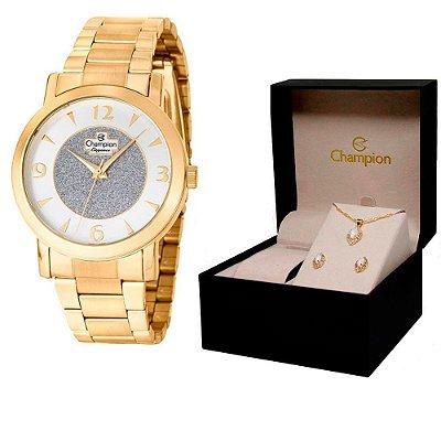Relógio Champion Feminino CN25136W + Conjunto de Brincos e Colar