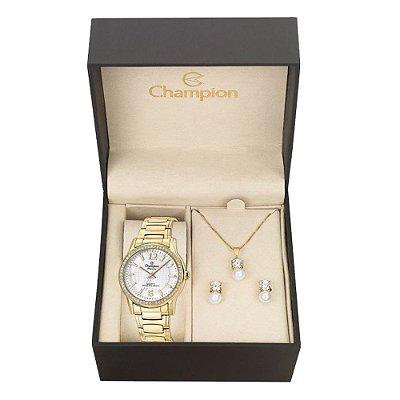 Relógio Champion Feminino CN28839W + Conjunto de Brincos e Colar