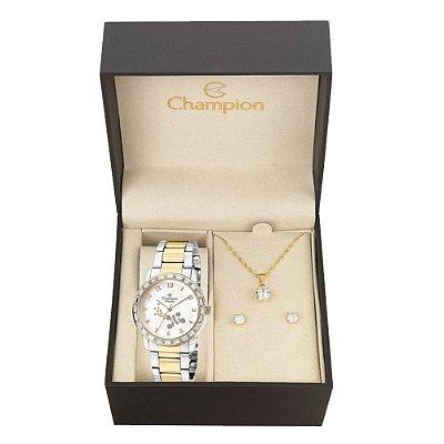 Relógio Champion Feminino CN29356D + Conjunto de Brincos e Colar