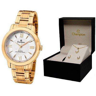Relógio Champion Feminino CH24697J + Brincos e Colar