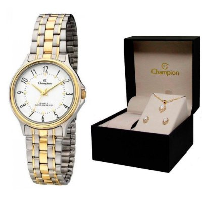 Relógio Champion Feminino CH22046D + Conjunto de Brincos e Colar