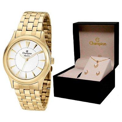 Relógio Champion Feminino CN26475W + Conjunto De Brincos e Colar