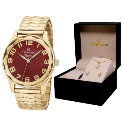 Relógio Champion Feminino CN27885X + Conjunto De Brincos e Colar