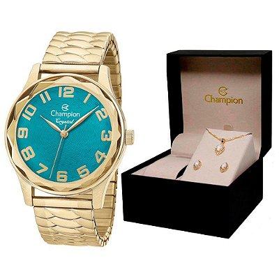 Relógio Champion Feminino CN27885Y + Conjunto De Brincos e Colar
