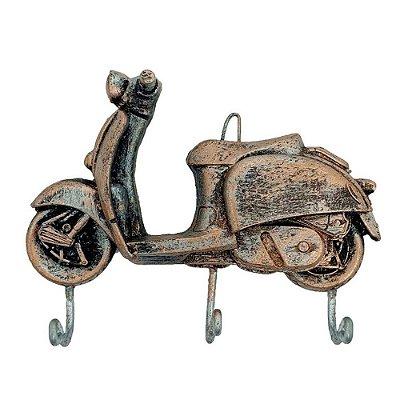 Cabideiro Porta Chaves Rústico Moto - Resina cor Cobre