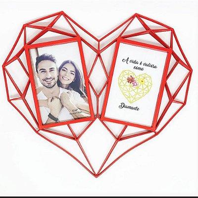 Porta Retrato Duplo Coração Diamante - Cores Sortidas