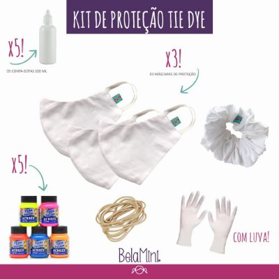 Kit Tie Dye | 3 Máscaras + Scrunchie