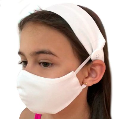 KIT máscara + faixa INFANTIL | Brancas