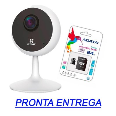 CAMERA SEGURANÇA EZVIZ C1C HD 720P + CARTÃO MICRO SD 64Gb
