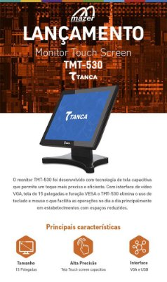 """MONITOR TOUCH SCREEN 15""""  TMT-530 TANCA"""