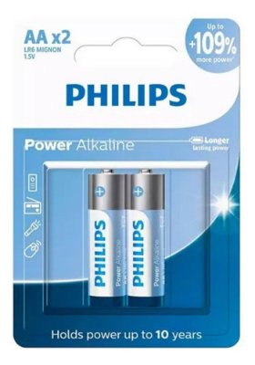 PILHA PHILIPS ALCALINA AA - LR6P2B/59 - COM 2 UNIDADES