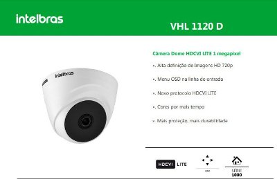 "CAMERA VHL 1120 D LENTE 3.6MM SENSOR 1/2.7"" - HDCVI"