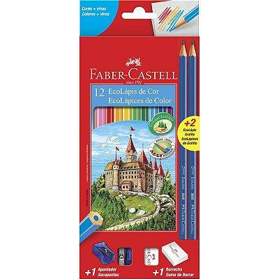 Lapis de cor (sextavado) Ecolapis 12 Cores c/Kit - Faber-Castell
