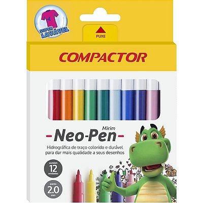 Caneta hidrografica Neo-Pen Gigante 12 Cores - Compactor