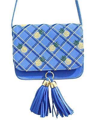 Bolsa a Tiracolo em Couro Azul com Bordado xadrez/abacaxi