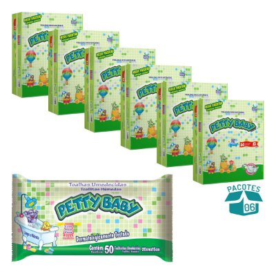 Fralda Infantil Petty Baby Mega Pacotão 6 Pacotes + Toalhinha Umedecida