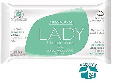 Lenços Íntimos Personalidade Lady Clean Side 20un. - 24 Pacotes.