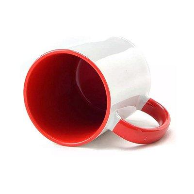 Caneca com alça e interior vermelho para sublimação 325ml - Marca Live