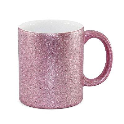 Caneca gliter rosa para sublimação 325 ml  - Marca Live