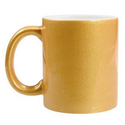 Caneca perolada dourada para sublimação 325 ml  - Marca Live