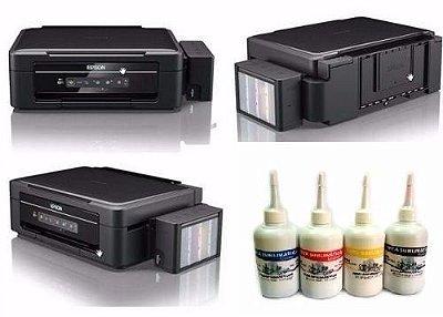 Impressora EPSON EcoTank L380 com 4 frascos de 130ml de Tinta Original Inktec SUBLIMÁTICA