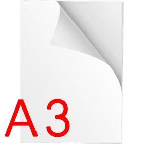 Papel Adesivo Vinil Branco A3 para impressora jato de tinta - Pacote com 5 folhas