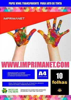 Papel Vinil Adesivo Transparente A4 a Jato de Tinta - Pacote com 10 folhas.