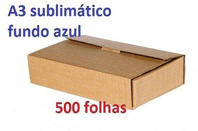Resma de papel sublimatico A3 fundo azul tratado para sublimação - Pacote de 500 folhas