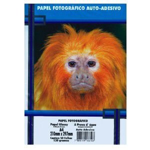 Papel Fotográfico Adesivo A4 130 gr Brilhante á prova d'água - 50 folhas