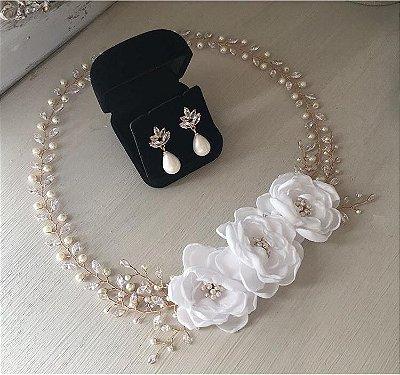 Tiara para noivas finas:  Headband Enchanted Camélias