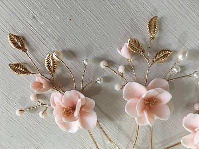 Grampos floral enchanted rosee