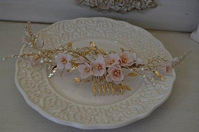 Pente floral Enchanted Rosèe