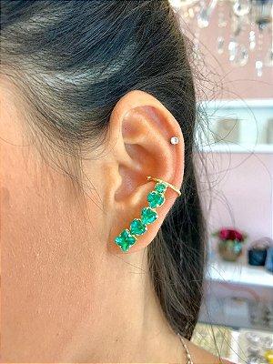 Ear Cuff Corações Verde