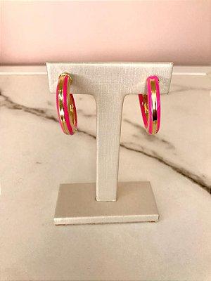 Argola Tubo Rosa com Dourado