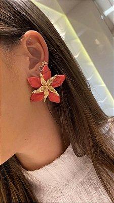 Brinco Flor Vermelho Enraiado com Preto