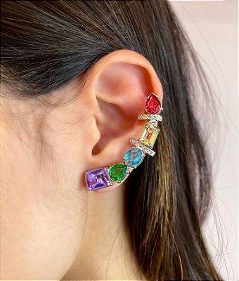 Ear Cuff + Gotinha Ródio Branco